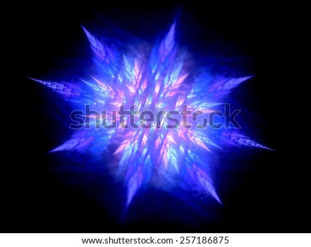 Colorful glowing fractal in space, computer generated abstract background - stock photo
