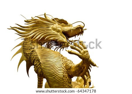Colorful Golden dragon statue in chinese temple in Chonburi province Thailand - stock photo