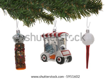 Colorful golf Christmas ornaments over a white background - stock photo