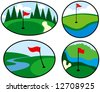 Colorful Golf Icons with red flags - stock photo
