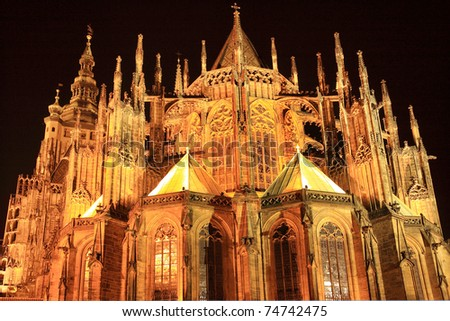 Colorful gothic St. Vitus' Cathedral on Prague Castle in the Night, Czech Republic - stock photo