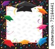 Colorful Graduation Invitation with copy space - stock photo