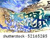 Colorful graffiti closeup - stock photo