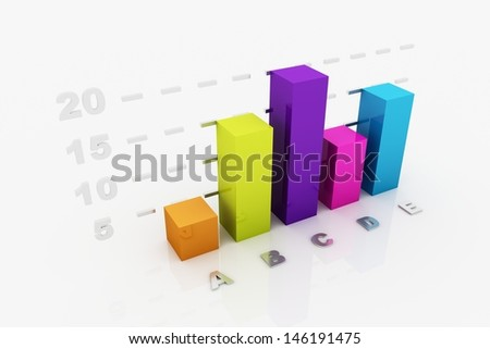 Colorful graph 3D rendering - stock photo