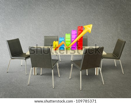 colorful graph stay on a wooden dask