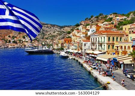 colorful Greece series - Symi island - stock photo
