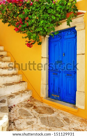 colorful Greece series -Symi island streets - stock photo