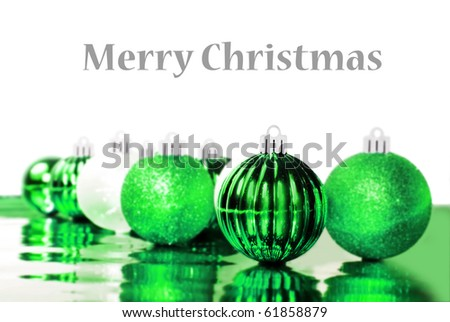 Colorful  green christmas balls