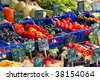 Colorful groceries marketplace in Venice, Italy. Outdoor market stall with fruits and vegetables. - stock photo