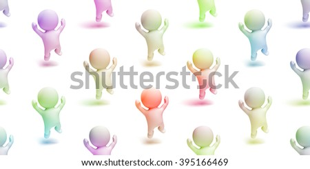 colorful group of happy cute little characters jumping enthusiastically in a white scene (seamless texture) - stock photo