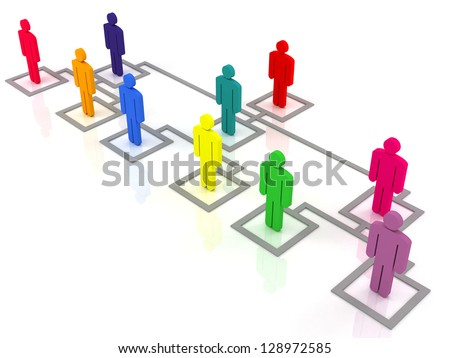 colorful group of people standing on the organization chart - stock photo