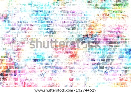 colorful grunge art wall illustration, urban art wallpaper, background - stock photo
