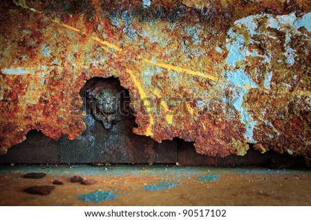 Colorful grunge background of rusty iron surface with paint stains - stock photo