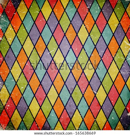 colorful grunge background with harlequin pattern - stock photo