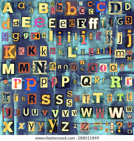 Colorful grunge newspaper, magazine collage letters background. - stock photo