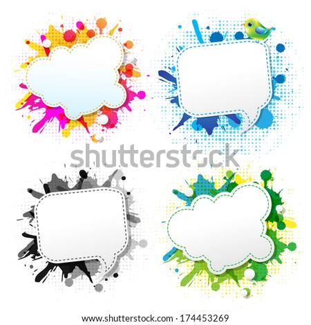 Colorful Grunge Poster With Abstract Speech Bubbles - stock photo