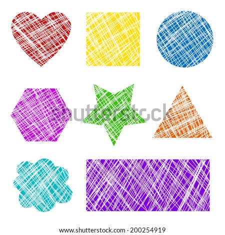 Colorful grunge scratched shapes illustration - stock photo
