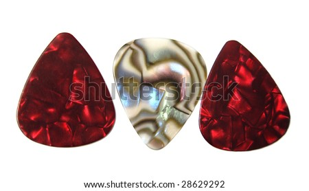 Colorful guitar picks isolated on white. - stock photo