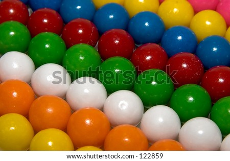 Colorful gum balls in rows