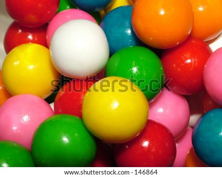 Colorful gumballs close up - stock photo