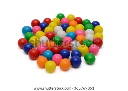 Colorful gumballs on the white background - stock photo