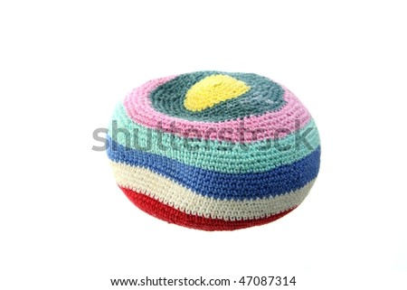 Colorful hacky sack isolated on white