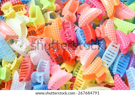 colorful hair bands/clips - stock photo