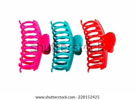 colorful hair clip isolated on white background - stock photo