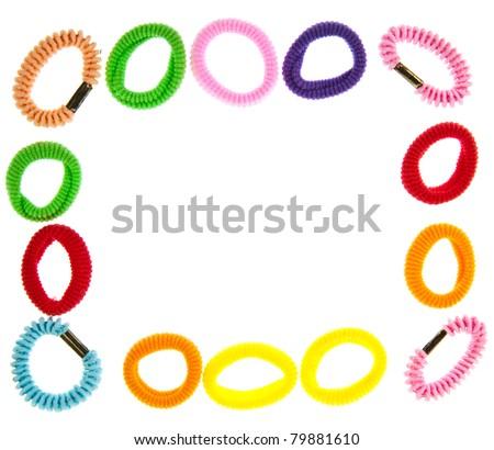 Colorful hair elastic frame isolated on white background - stock photo