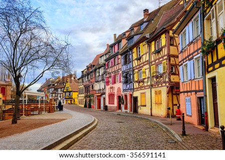 Colorful half-timbered facades in medieval Little Venice district, Colmar, Alsace, France - stock photo