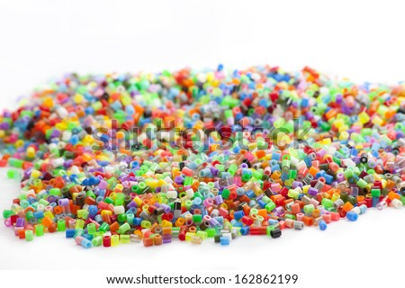 Colorful hama beads for crafts