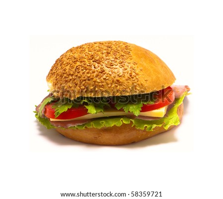 colorful hamburger isolated on white