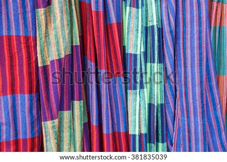 colorful hammocks as background