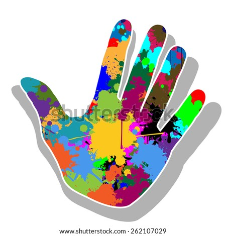 Colorful hand - stock photo
