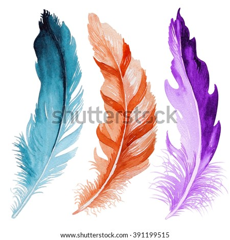 Colorful hand drawn watercolor vibrant feather set. Boho style. illustration isolated on white background. Bird fly design for T-shirt, invitation, wedding card.Rustic Bright colors.  - stock photo