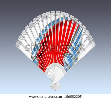 Colorful hand fan. Isolated on gray - stock photo