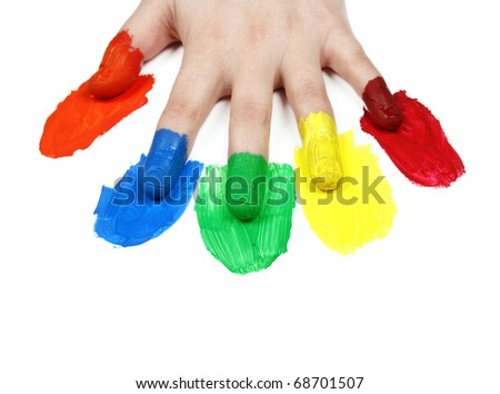 Colorful hand isolated on white background - stock photo
