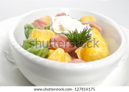 Colorful hand made ravioli - stock photo
