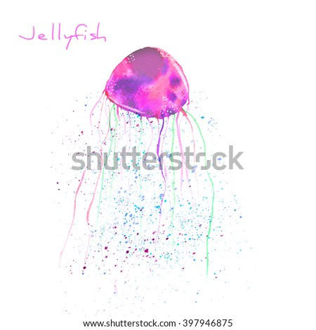 Colorful, hand painted watercolor jellyfish isolated on white background. Bright, underwater, sea wildlife background with paint splashes. Raster illustration. - stock photo
