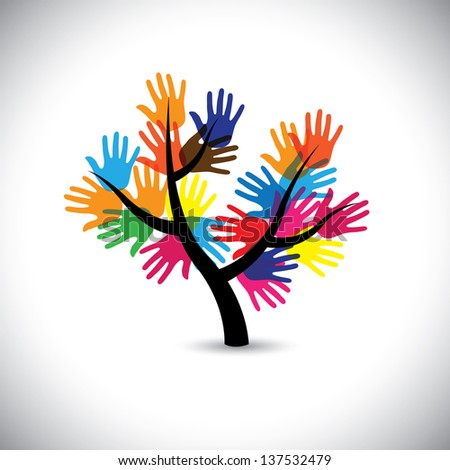 Colorful hand & palm imprints as leaves & flowers of tree. This graphic illustration represents people team standing united, community support, people helping each other, universal brotherhood, etc - stock photo