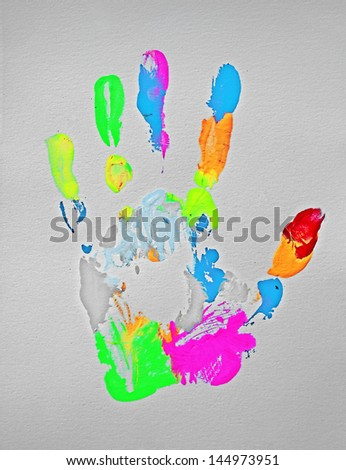 Colorful Hand Print - original oil and acrylic painting, handmade by the artist (me) - stock photo