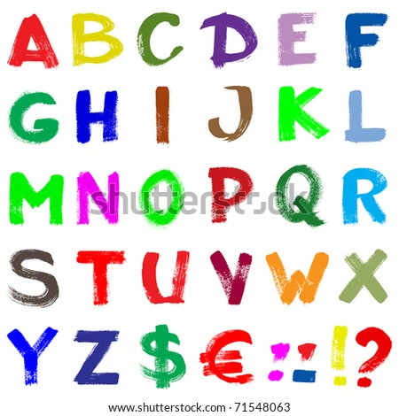 Colorful hand-written alphabet isolated over white background - stock photo