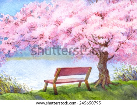 Colorful handmade bright romantic watercolour on paper backdrop with space for text. Cozy wooden bench on the riverbank under beautiful flowering pink peach tree