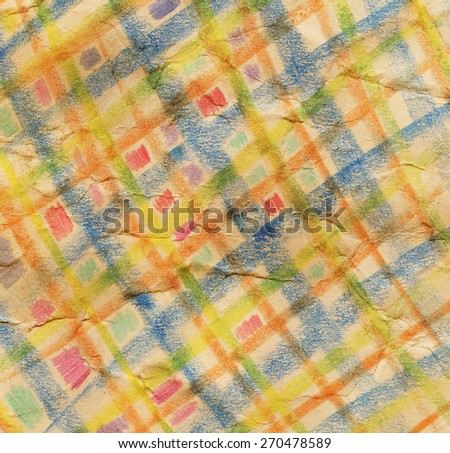 Colorful Handmade Crayon Drawing on Creased Paper Background   - stock photo