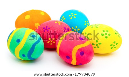 Colorful handmade easter eggs isolated on a white background - stock photo