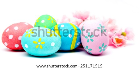 Colorful handmade easter eggs with flower isolated on a white - stock photo