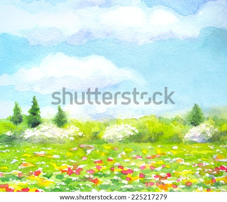 "Colorful handmade vivid watercolor on paper backdrop with space for text. Series ""Different seasons"".  Light green sunlit grassland with red, yellow, white flowers and lush bushes and firs on horizon  - stock photo"