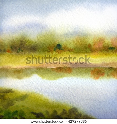Colorful handmade watercolour on paper backdrop with space for text on grey heaven. Vivid white cumulus over light green sunlit grassland with lush bushes on horizon reflected in clear creek - stock photo