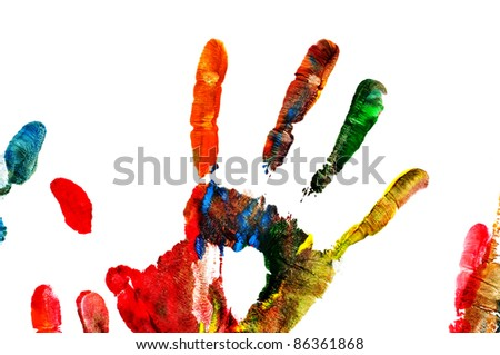 colorful handprint on a white background - stock photo