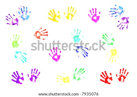 Colorful handprints of children